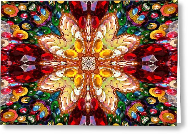 Digital Kaleidoscope - Rhinestone Mosaic A4 Greeting Card by Sofia Metal Queen
