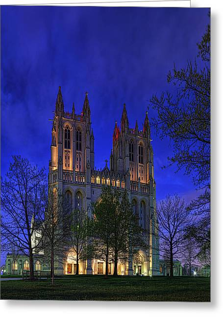 Digital Liquid - Washington National Cathedral After Sunset Greeting Card