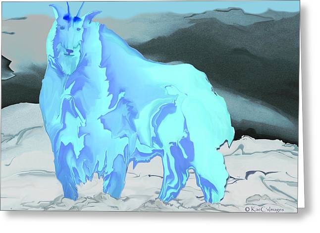Greeting Card featuring the digital art Digital Mountain Goat 2 by Kae Cheatham