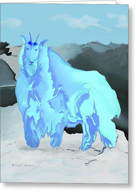Greeting Card featuring the digital art Digital Mountain Goat by Kae Cheatham