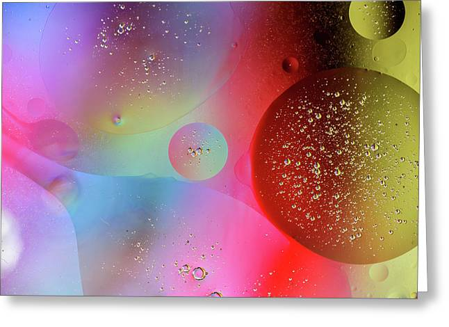 Greeting Card featuring the photograph Digital Oil Drop Abstract by John Williams