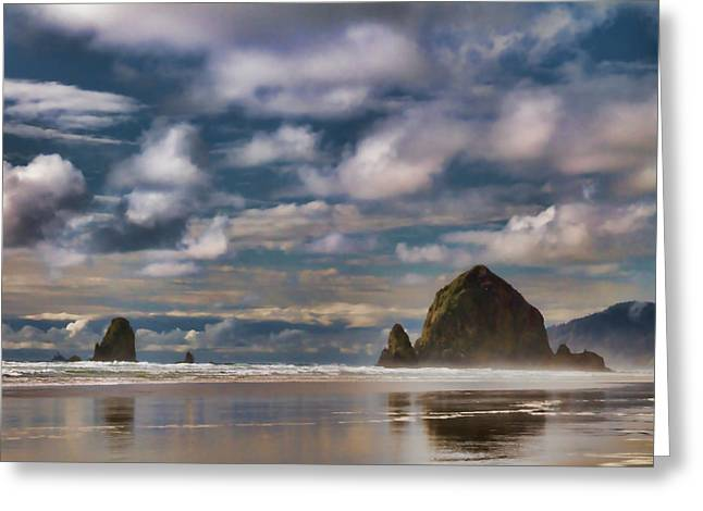 Digital Painting Of Cannon Beach Greeting Card