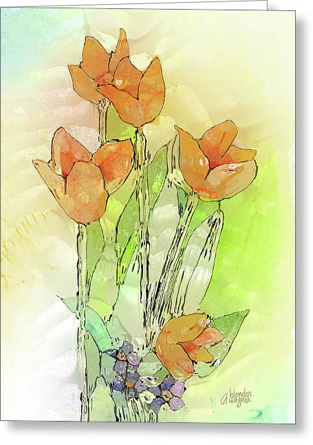 Digital Tulips Greeting Card by Arline Wagner