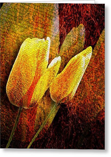 Digital Tulips Greeting Card by Svetlana Sewell