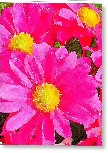 Digital Watercolour Of Pink Daisy Pollen Flowers Greeting Card