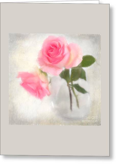 Digitally Painted Water Color Roses Greeting Card