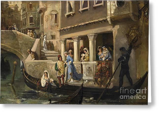 Dignitaries Boarding A Gondola On A Venetian Backwater Greeting Card