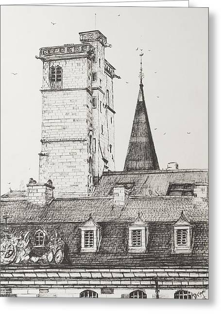 Dijon Rooftops Greeting Card by Vincent Alexander Booth