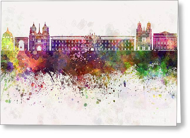 Dijon Skyline In Watercolor Background Greeting Card by Pablo Romero