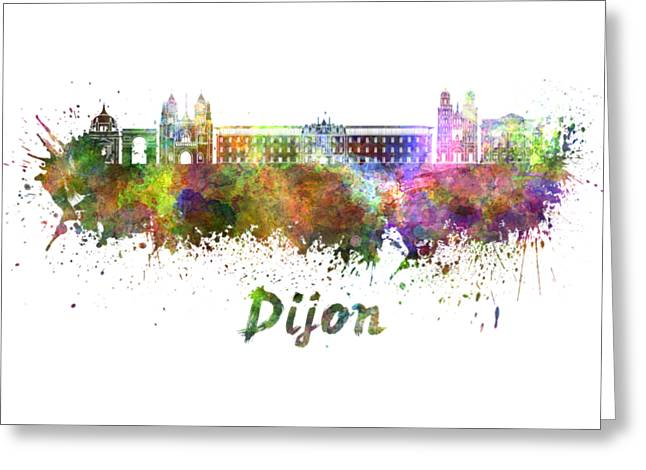 Dijon Skyline In Watercolor Greeting Card by Pablo Romero