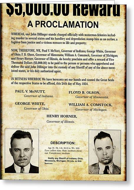 Dillinger - Governors' Wanted Proclamation - May 1934 Greeting Card