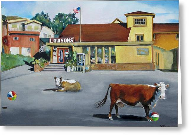 Dillion Beach Cows Greeting Card by Kathryn LeMieux
