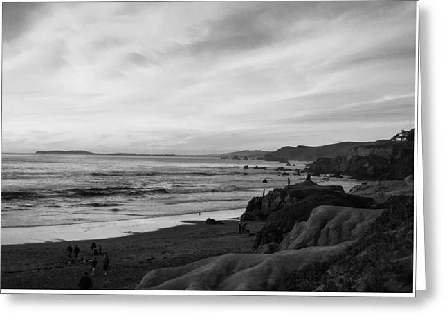 Dillon Beach Sunset Black And White Greeting Card by Sierra Vance