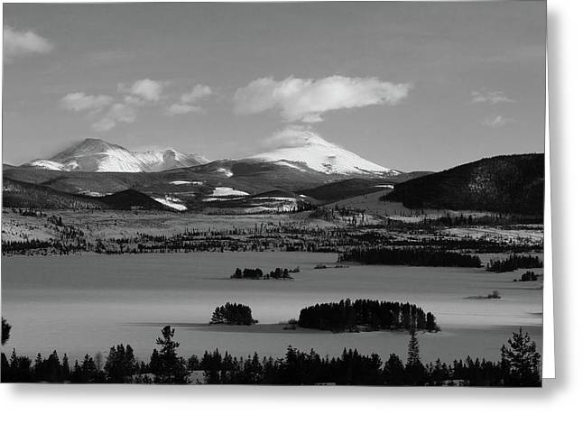 Greeting Card featuring the photograph Dillon In Winter Bw by Marie Leslie