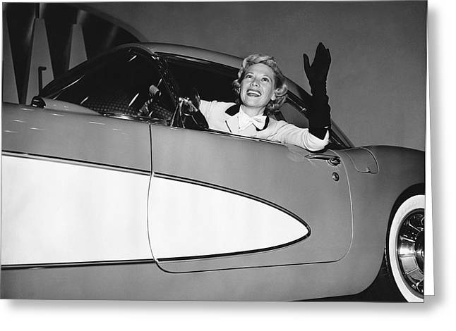 Dinah Shore In A Corvette Greeting Card by Underwood Archives