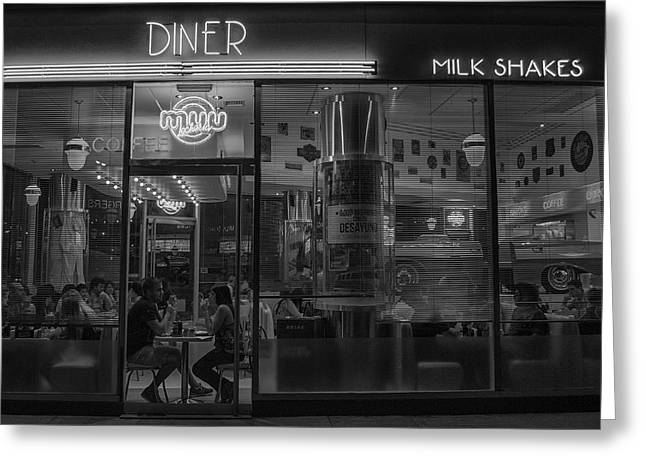 Diner Place Greeting Card by Hans Wolfgang Muller Leg