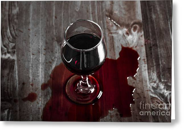 Diner Table Accident. Spilled Red Wine Glass Greeting Card