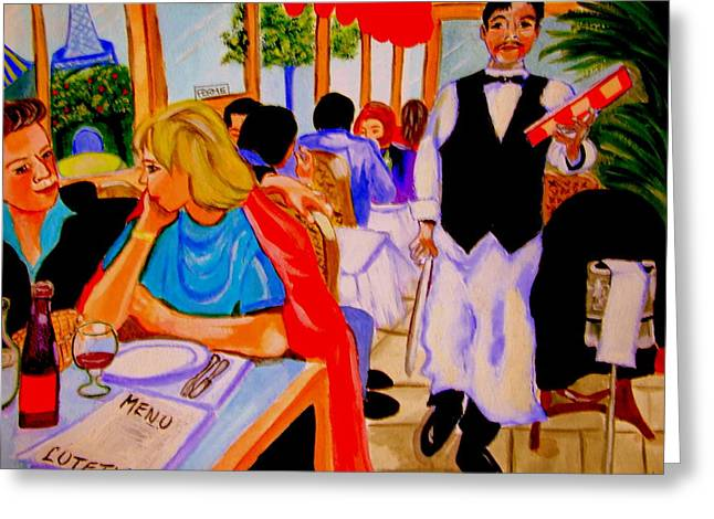 Food And Beverage Sculptures Greeting Cards - Diners at La Lutetia Greeting Card by Rusty Woodward Gladdish