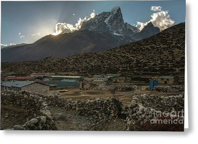 Greeting Card featuring the photograph Dingboche Evening Sunrays by Mike Reid