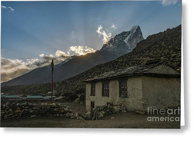 Greeting Card featuring the photograph Dingboche Nepal Sunrays by Mike Reid