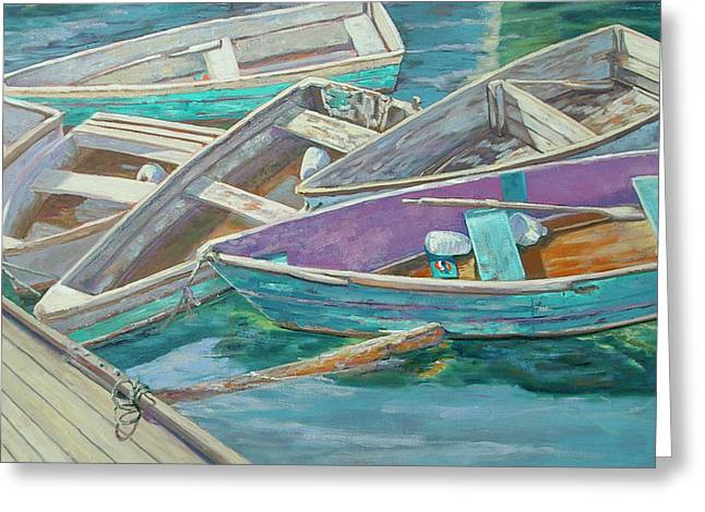 Dinghies All Tied Up Greeting Card by Barbara Hageman