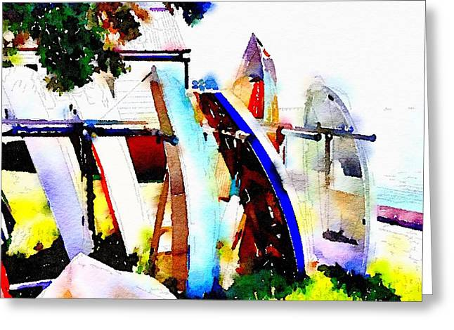 Dinghies At Devonport Greeting Card