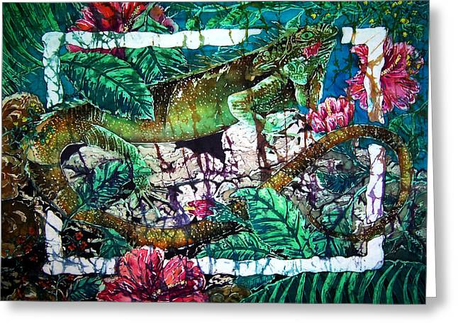 Dining At The Hibiscus Cafe - Iguana Greeting Card by Sue Duda