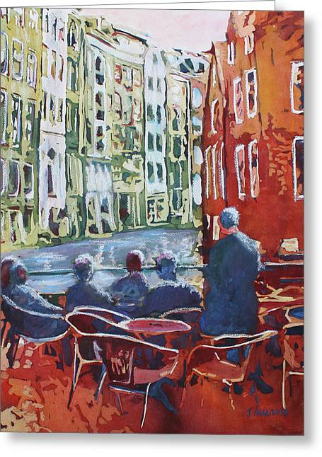 Dining Canalside Greeting Card