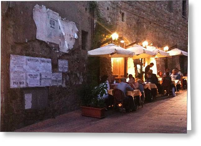 Dining In Tuscany Greeting Card