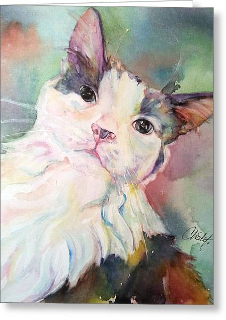 Greeting Card featuring the painting Dinky by Christy Freeman