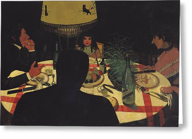 Cloth Greeting Cards - Dinner by Lamplight Greeting Card by Felix Edouard Vallotton