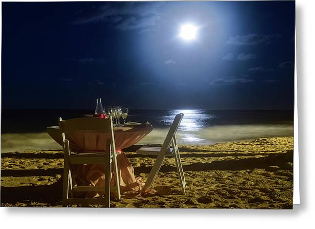 Dinner For Two In The Moonlight Greeting Card