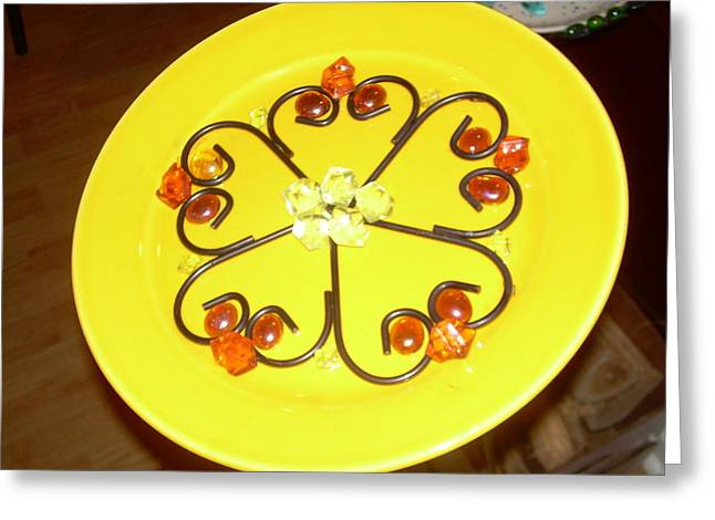 Dinner Glass Greeting Cards - Dinner Plate Flowers Greeting Card by Diane Morizio