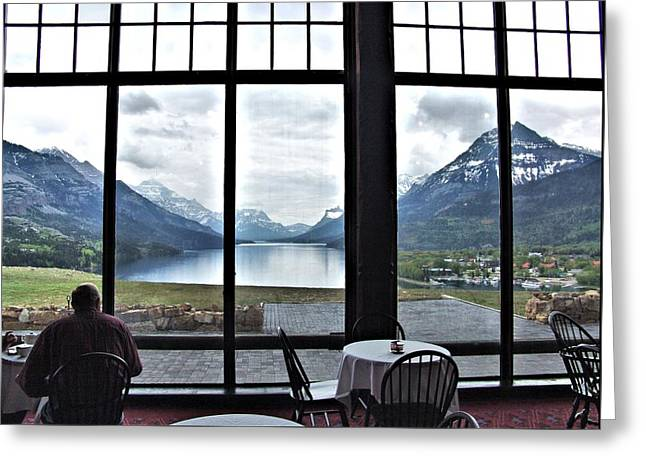 Dinner With A View Greeting Card by Janet Ashworth