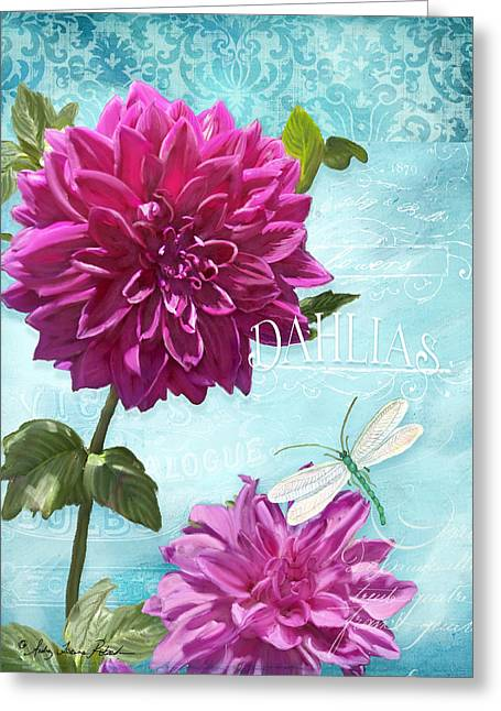Dinnerplate Dahlia Flower W Dragonfly Greeting Card by Audrey Jeanne Roberts