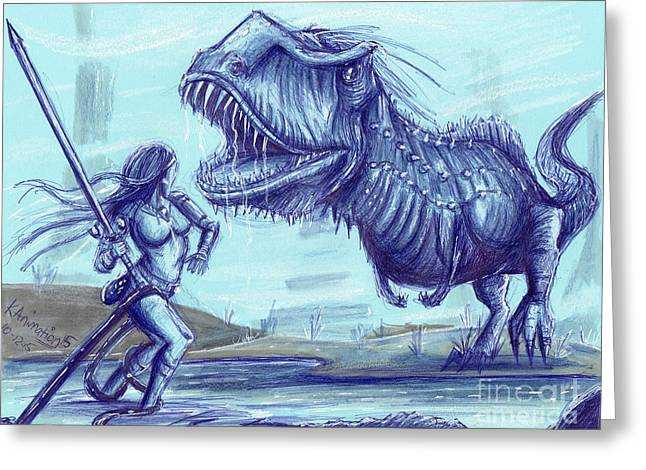 Dino Warrior Greeting Card by Keith Murrell