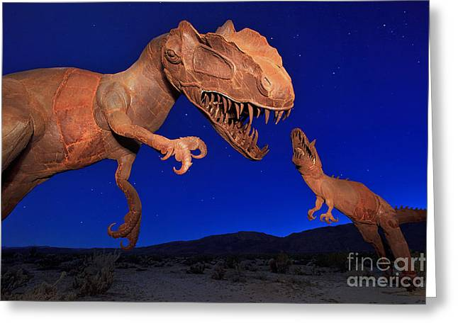 Dinosaur Battle In Jurassic Park Greeting Card by Sam Antonio Photography