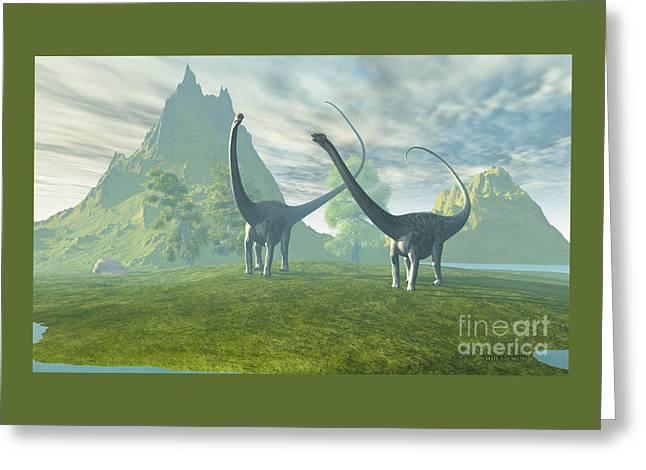 Dinosaur Land Greeting Card by Corey Ford