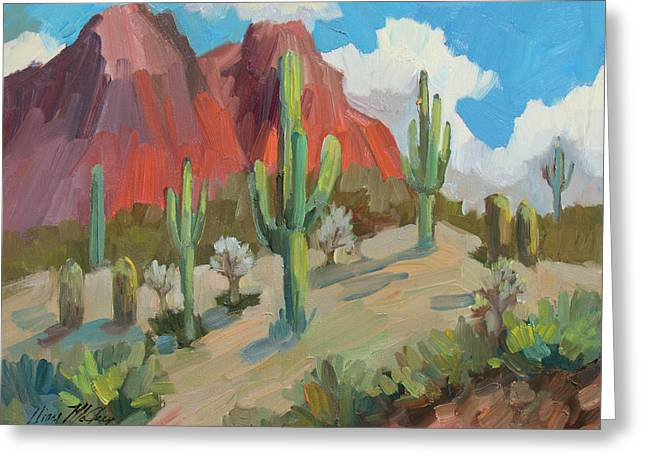 Greeting Card featuring the painting Dinosaur Mountain by Diane McClary
