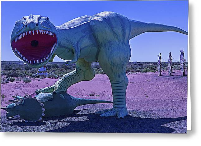 Dinosaur With Kill Greeting Card by Garry Gay