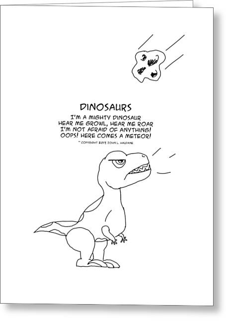 Greeting Card featuring the drawing Dinosaurs by John Haldane