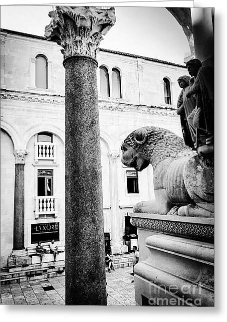 Diocletian's Palace Watchers Greeting Card by JMerrickMedia