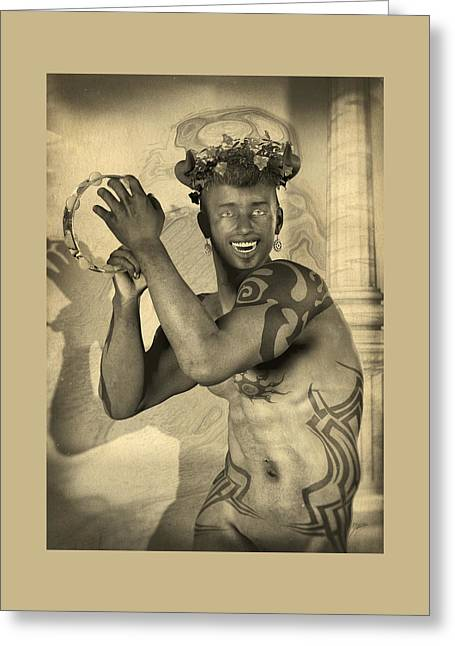Dionysus Sepia Old Greeting Card by Quim Abella