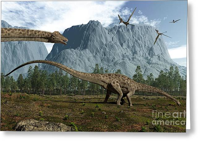 Diplodocus Dinosaurs Graze While Greeting Card by Walter Myers