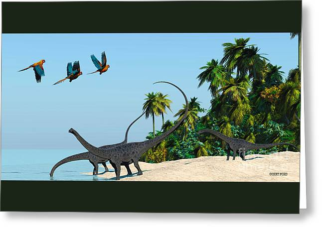 Diplodocus Drinking Greeting Card by Corey Ford