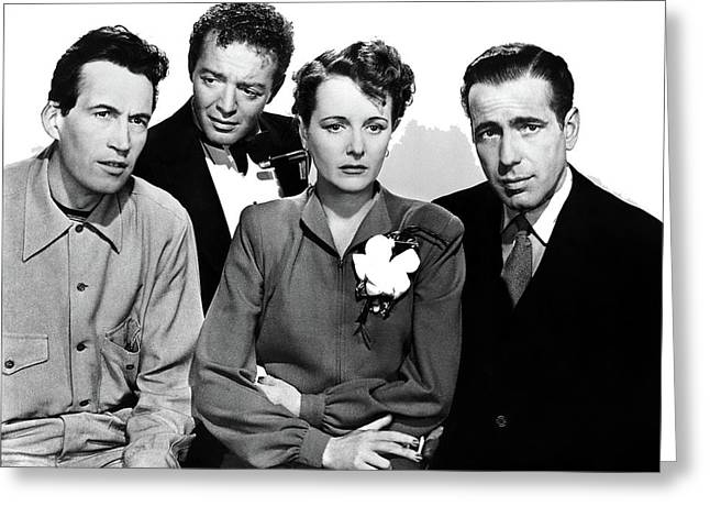 Director John Huston Peter Lorre Mary Astor Humphrey Bogart The Maltese Falcon 1941-2016 Greeting Card by David Lee Guss