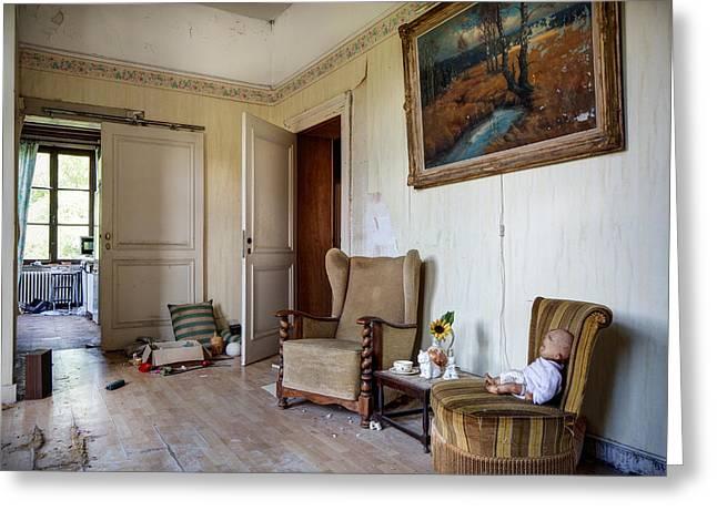 Directors Living Room - Urban Exploration Greeting Card