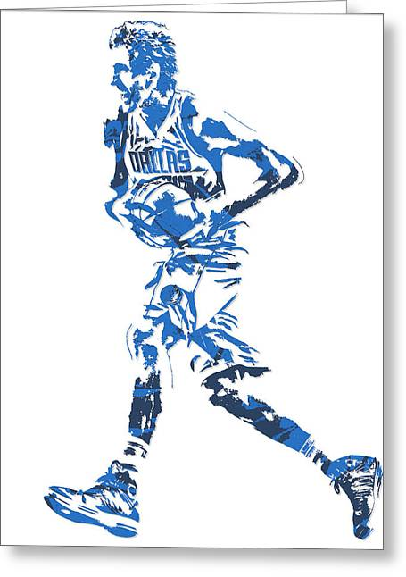 Dirk Nowitzki Dallas Mavericks  Pixel Art 6 Greeting Card