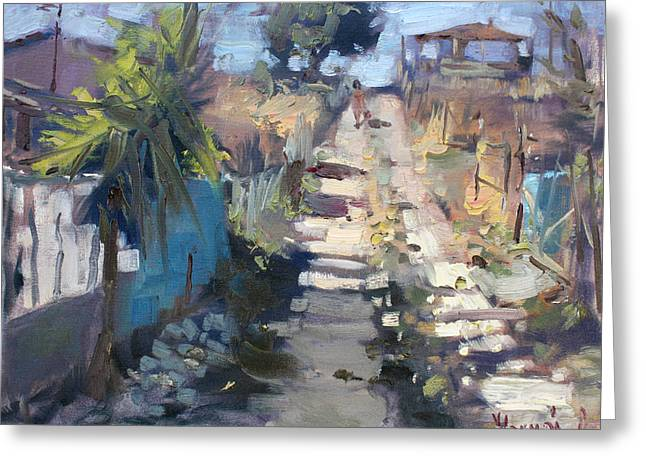 Dirt Road At Kostas Garden Greeting Card by Ylli Haruni