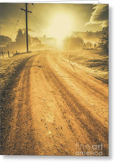 Dirt Road Sunrise Greeting Card by Jorgo Photography - Wall Art Gallery